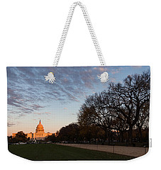 Soft Orange Glow - U S Capitol And The National Mall At Sunset Weekender Tote Bag