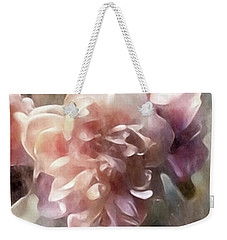 Weekender Tote Bag featuring the mixed media Soft Pastel Peonies by Susan Maxwell Schmidt