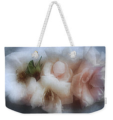 Weekender Tote Bag featuring the photograph Soft Pink Roses by Louise Kumpf