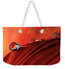 Soft Red Petals With Water Drops Weekender Tote Bag by Angela Murdock