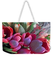 Weekender Tote Bag featuring the photograph Soft Reds Of Spring - Tulips by Miriam Danar