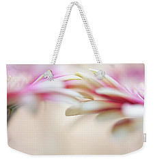 Weekender Tote Bag featuring the photograph Soft Touch. Macro Gerbera by Jenny Rainbow