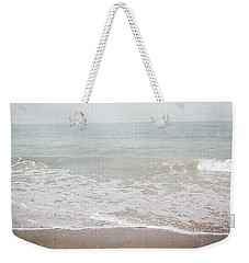 Weekender Tote Bag featuring the mixed media Soft Waves- Art By Linda Woods by Linda Woods