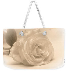 Weekender Tote Bag featuring the photograph Soft White Rose by Scott Carruthers