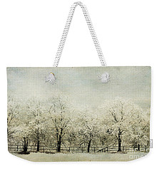 Weekender Tote Bag featuring the digital art Softly Falling Snow by Chris Armytage