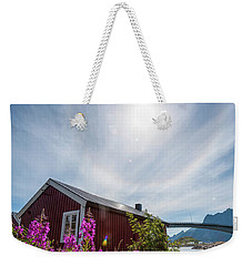 Solar Halo Above Rorbu Weekender Tote Bag by Alex Conu