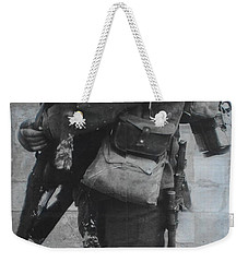 Weekender Tote Bag featuring the photograph Soldier And Goat by Therese Alcorn