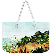 Weekender Tote Bag featuring the painting Solitary Cottage In Malawi by Dora Hathazi Mendes