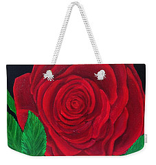 Solitary Red Rose Weekender Tote Bag