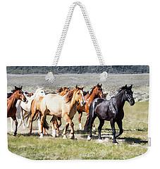 Weekender Tote Bag featuring the digital art Sombrero Ranch Horse Drive, Galloping Horses by Nadja Rider