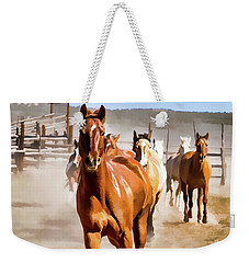 Weekender Tote Bag featuring the digital art Sombrero Ranch Horse Drive, Galloping Into The Dusty Corrals by Nadja Rider