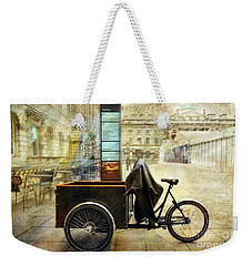 Weekender Tote Bag featuring the photograph Somerset House Cart Bicycle by Craig J Satterlee
