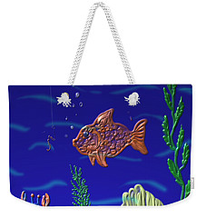 Weekender Tote Bag featuring the painting Something Fishy by Kevin Caudill