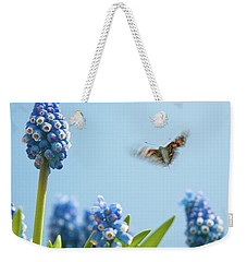 Something In The Air: Peacock Weekender Tote Bag by John Edwards