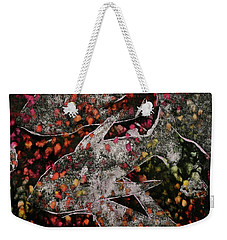 Weekender Tote Bag featuring the mixed media Something's Fishy by Michele Myers