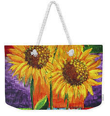 Weekender Tote Bag featuring the painting Sonflowers I by Holly Carmichael