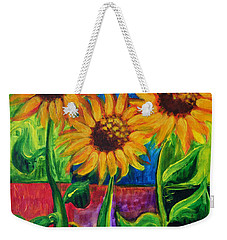 Weekender Tote Bag featuring the painting Sonflowers II by Holly Carmichael