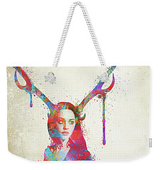 Weekender Tote Bag featuring the digital art Song Of Elen Of The Ways Antlered Goddess by Nikki Marie Smith