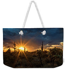 Weekender Tote Bag featuring the photograph Sonoran Gold At Sunset  by Saija Lehtonen