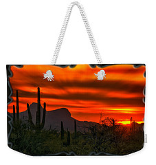 Weekender Tote Bag featuring the photograph Sonoran Sunset H38 by Mark Myhaver