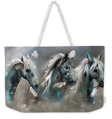 Weekender Tote Bag featuring the painting Sons Of Thunder Spirit by Barbie Batson