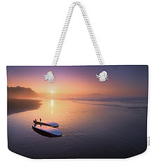 Sopelana Beach With Surfboards On The Shore Weekender Tote Bag
