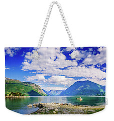 Weekender Tote Bag featuring the photograph Soreimsfjorden by Dmytro Korol