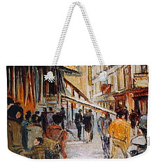 Weekender Tote Bag featuring the painting Souk De Buci by Walter Casaravilla