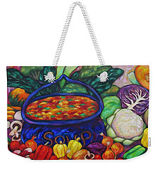 Weekender Tote Bag featuring the painting Soup In A Blue Pot by Dianne  Connolly