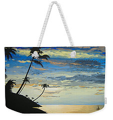 Weekender Tote Bag featuring the painting South Sea Sunset by Norm Starks
