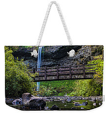 South Silver Falls With Bridge Weekender Tote Bag by Darcy Michaelchuk