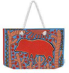 Weekender Tote Bag featuring the digital art Southwest Desert Wart Hog by Vagabond Folk Art - Virginia Vivier