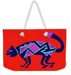 Weekender Tote Bag featuring the digital art Southwest Mimbres Feline by Vagabond Folk Art - Virginia Vivier