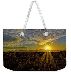 Weekender Tote Bag featuring the digital art Southwest Sunset Op40 by Mark Myhaver