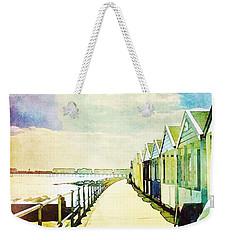 Weekender Tote Bag featuring the photograph Southwold Beach Huts by Anne Kotan