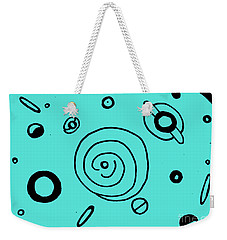 Weekender Tote Bag featuring the drawing Space Doodle by Patricia Cleasby