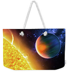 Weekender Tote Bag featuring the photograph Space Image Extrasolar Planet Yellow Orange Blue by Matthias Hauser