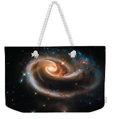 Weekender Tote Bag featuring the digital art Space Image Galaxy Rose by Matthias Hauser
