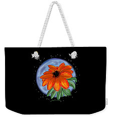 Weekender Tote Bag featuring the painting Space Zinnia On Black by Jean Pacheco Ravinski