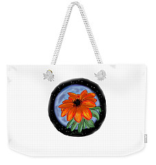 Weekender Tote Bag featuring the painting Space Zinnia by Jean Pacheco Ravinski