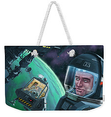 Spaceman With Space Station Orbiting Green Planet Weekender Tote Bag