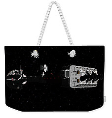 Weekender Tote Bag featuring the digital art Spaceship Uss Cumberland Traveling Through Deep Space by David Robinson