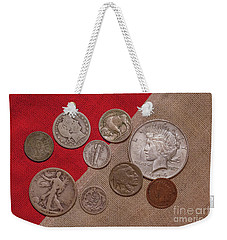Weekender Tote Bag featuring the digital art Spare Change Ver One by Randy Steele
