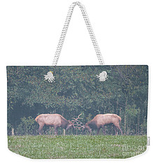 Sparking Elk On A Foggy Morning - 1957 Weekender Tote Bag
