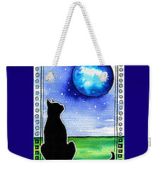 Sparkling Blue Bauble - Christmas Cat Weekender Tote Bag