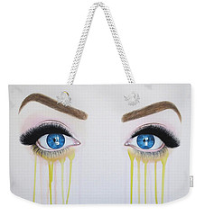 Weekender Tote Bag featuring the painting Sparkling Midnight Blues by Malinda Prudhomme