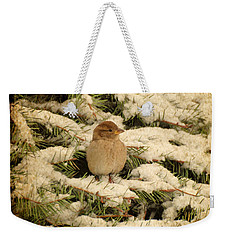 Weekender Tote Bag featuring the photograph Sparrow In Winter II - Textured by Angie Tirado