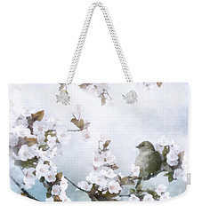 Weekender Tote Bag featuring the mixed media Sparrow On Cherry Branch by Shanina Conway