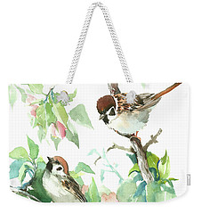 Sparrows And Apple Blossom Weekender Tote Bag by Suren Nersisyan