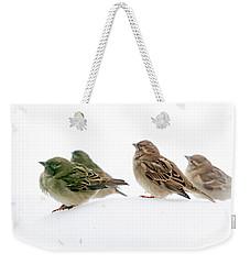 Sparrows In The Snow Weekender Tote Bag by Eleanor Abramson